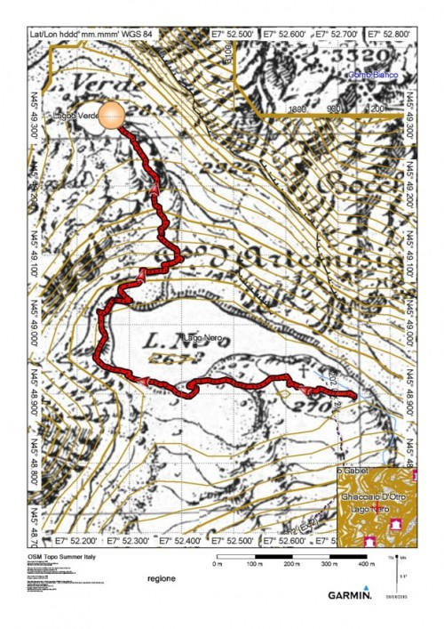 mappa cartinaLago Verde (Bocchetta di Netscio)
