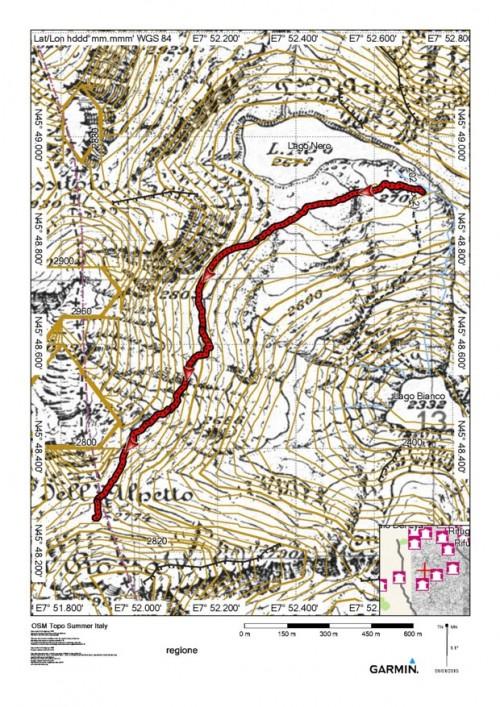 mappa cartinaPasso dell'Alpetto - Lago Nero