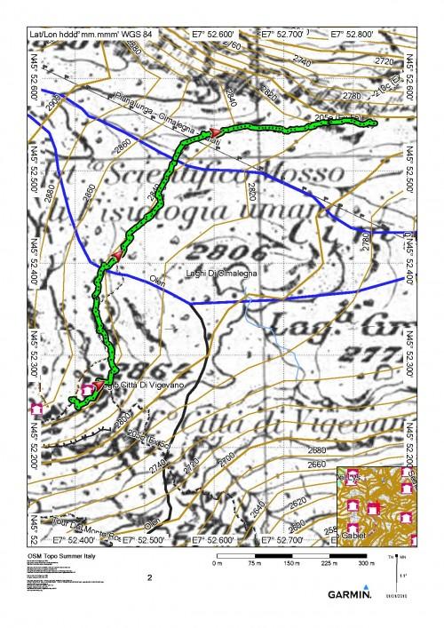 mappa cartinaArrivo Ferrata Emilio Detomasi - Rifugio Città di Vigevano