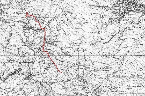 mappa cartinaAlpe Vigne Superiore dal sentiero del Turlo