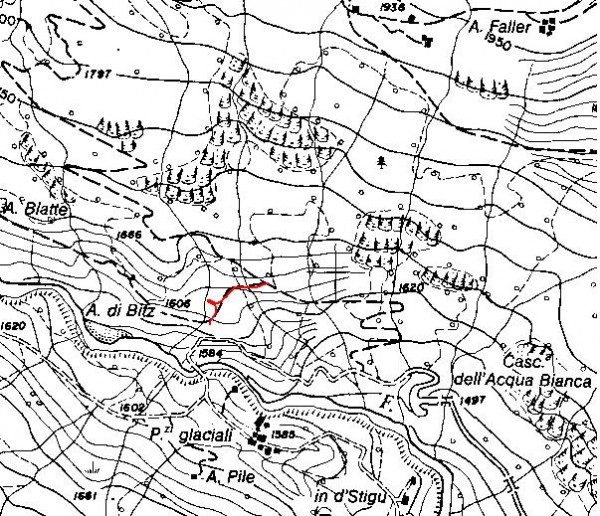 mappa cartinaRaccordo sentiero 207 - 207a