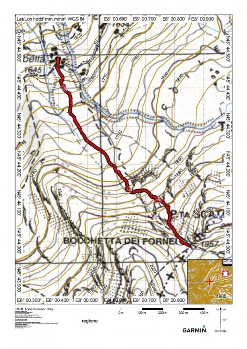 mappa cartinaBocchetta dei Fornei