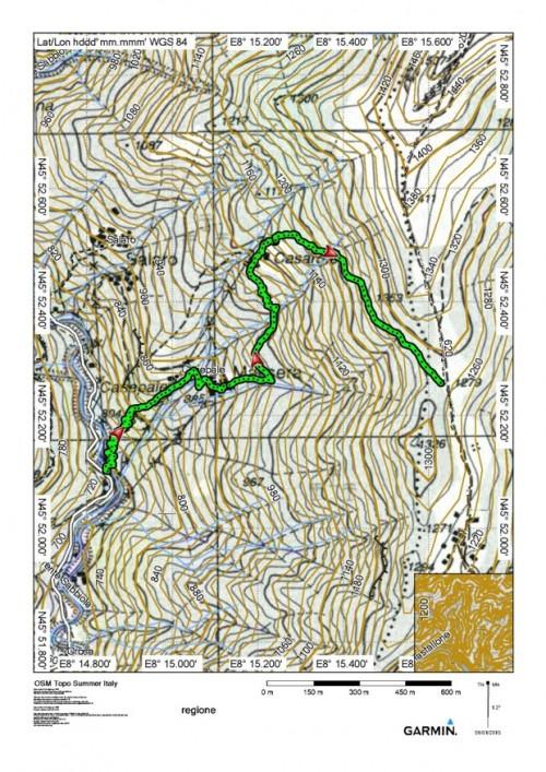 mappa cartina Sella Vaneccio dal Ponte del Baulei