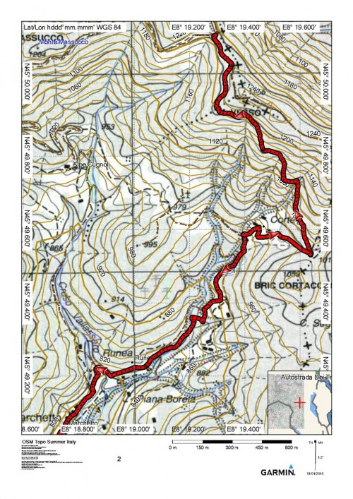mappa cartinaMachetto - Sella del Riale dell'Acqua