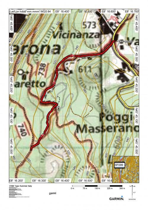 mappa cartinaItinerario 740, a 492m - Valmaggiore